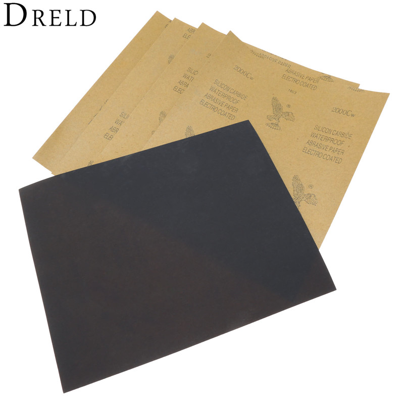 5 Sheets Sandpaper Waterproof Abrasive Paper Sand Paper Silicone Carbide Polishing Grinding Wet/dry Tool 2000 Grit 28 X 23cm