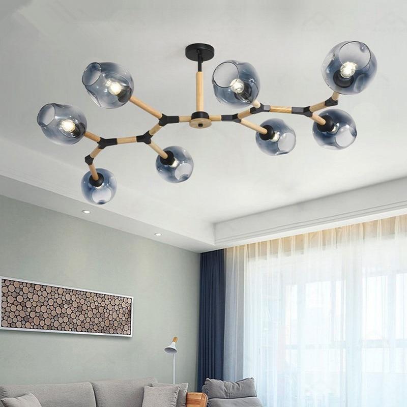 Nordic modern chandelier clothing store restaurant bedroom lamps molecular lights solid wood simple living room hanging lamp