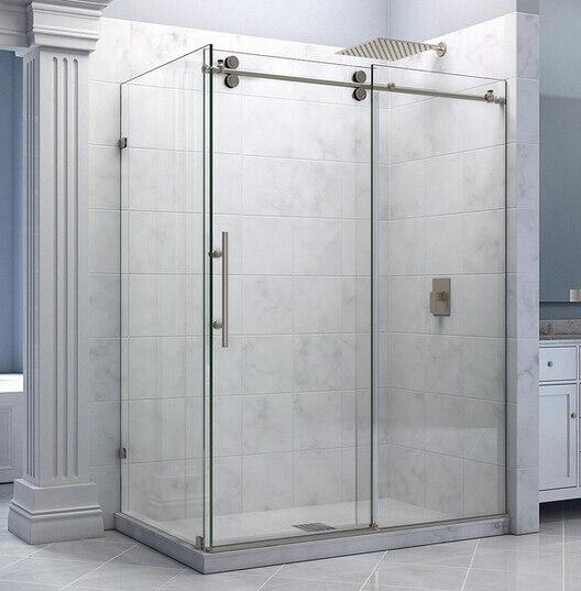 diyhd 5ft66ft frameless stainless steel satinchrome sliding shower door with 90