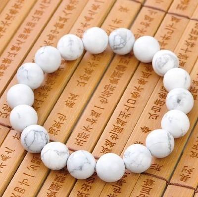 Natural White Howlite Stone Bead Bracelets Men and Women Girls Stone Bracelet