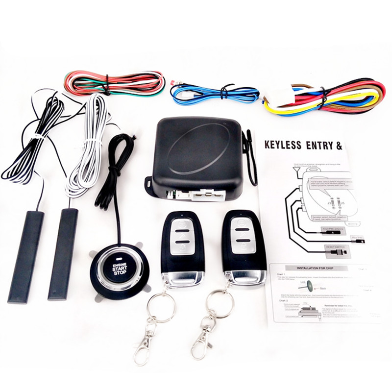 9Pcs Car SUV Switch Keyless Entry Engine Start Alarm System Push Button Remote Smart Starter Stop