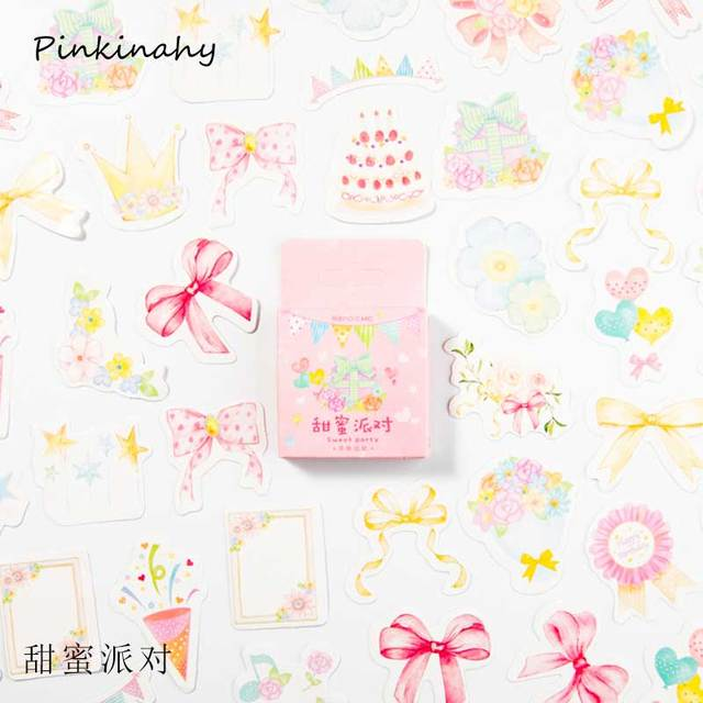 45pcs Strawberry Box Stickers Kawaii Stationery Cute Scrapbooking Pack Stickers