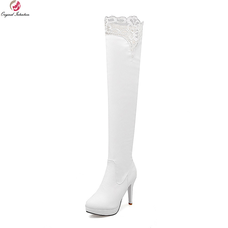 Original Intentio Women Over the Knee Boots Platform Round Toe Thin Heels Boots Sexy Black White Shoes Woman US Size 4-10.5 hot sale new arrival winter black pu zip women boots round toe thin heels over the knee shoes woman n2067