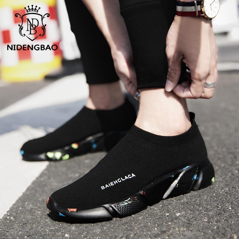 Summer Men Casual Shoes Breathable Mesh Slip On Male Fashion Footwear Slip on Comfortable Leisure Shoes Men Black Sock Sneakers 1