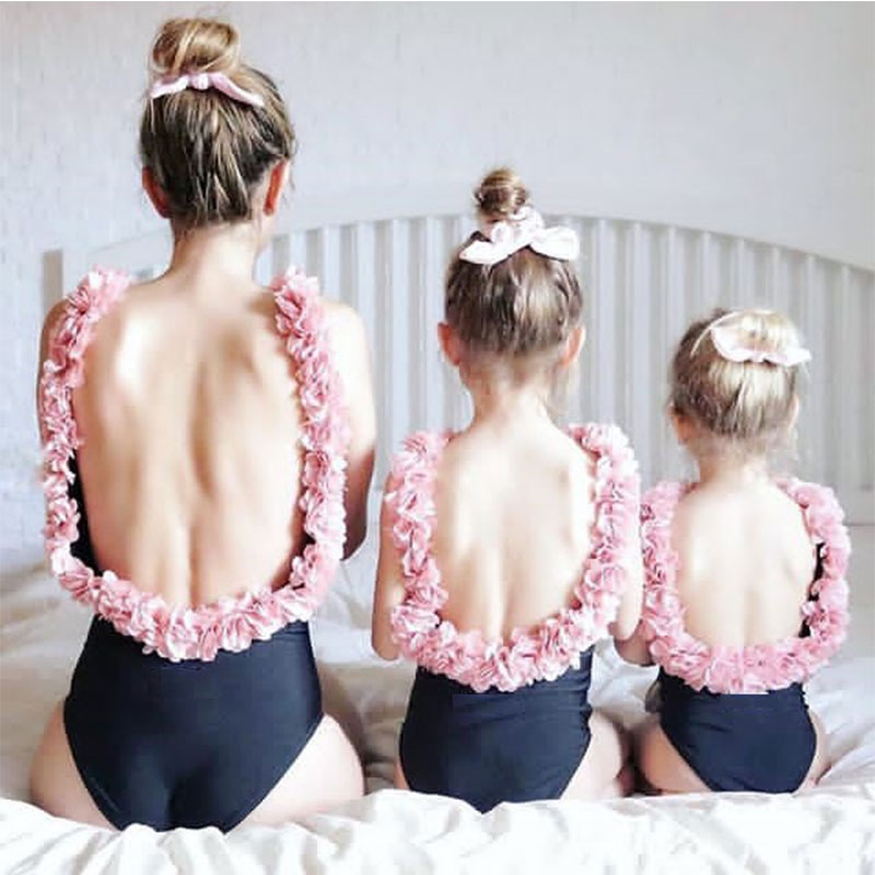 2019 Summer season Household Matching Look Swimwear Mother Women Child Children Swimsuit Bathing Outfits Floral One Piece Backless Household Garments Matching Household Outfits, Low-cost Matching Household Outfits, 2019 Summer...