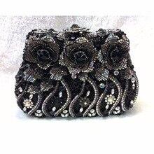 8268BK Black Crystal ROSE Flower Floral Wedding Bridal Party Night hollow Metal Evening purse clutch bag case box handbag