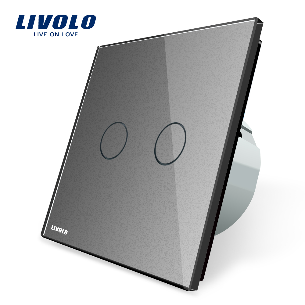 Livolo Grey Crystal Glass Switch Panel, EU Standard, Wall Switch , AC 220~250V ,VL-C702-15 livolo eu standard touch timer switch ac 220 250v vl c701t 32 black crystal glass panel wall light 30s time delay switch