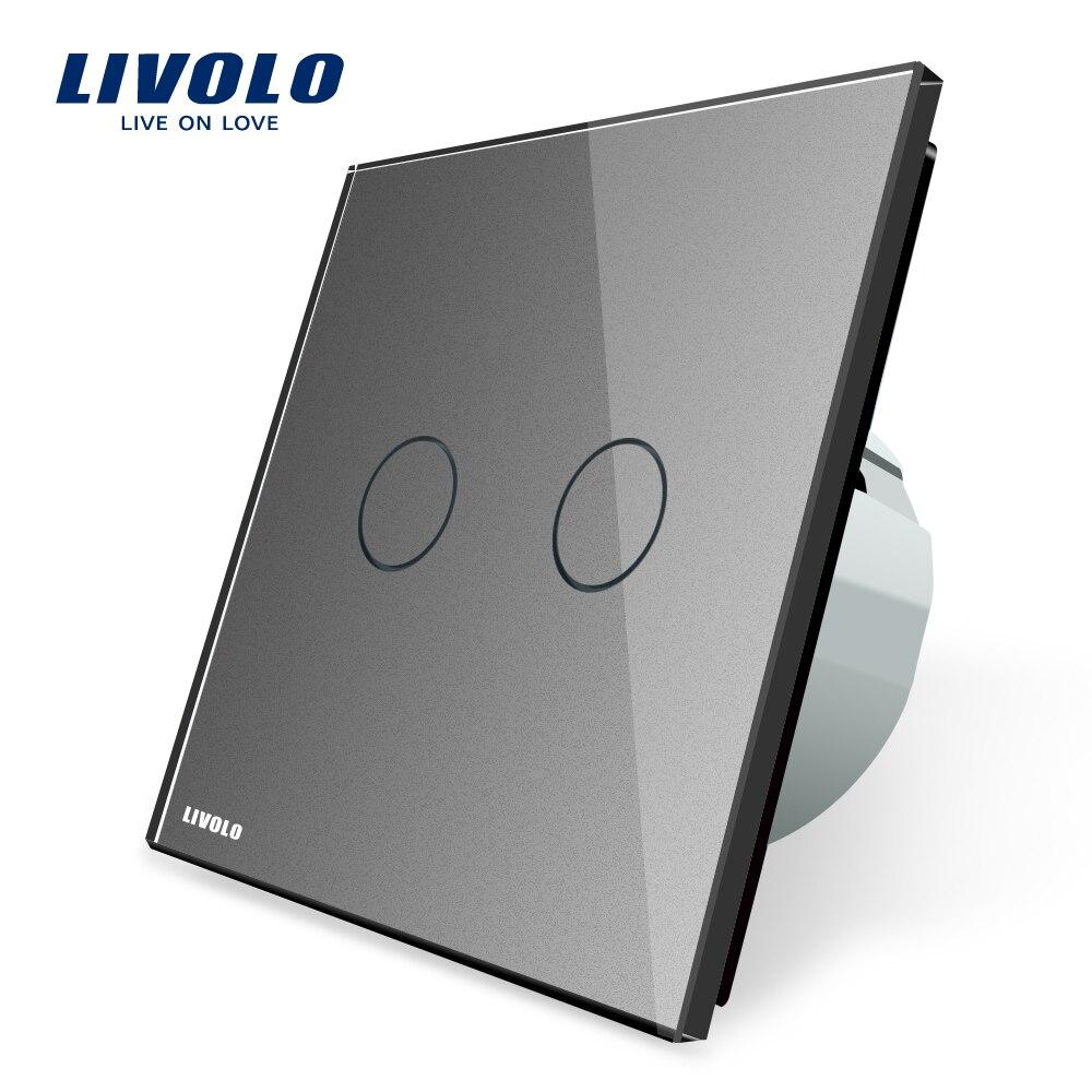 Livolo Gris de Verre Cristal Switch Panel, Standard de L'UE, Interrupteur mural, AC 220 ~ 250 V, VL-C702-15