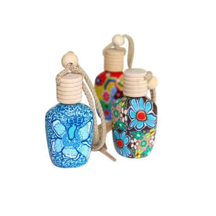 Carro Styling Acessórios Do Carro Arte Floral Impresso Pendurado Carro Ambientador Difusor de Perfume Frasco de Perfume Frasco de Perfume Vazio