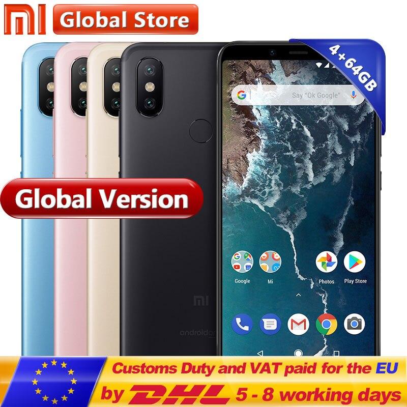 Global Version Original Xiaomi Mi A2 64GB ROM Smartphone 4GB RAM Dual 20.0MP Snapdragon 660 Octa Core 3010mAh 5.99 Full Screen