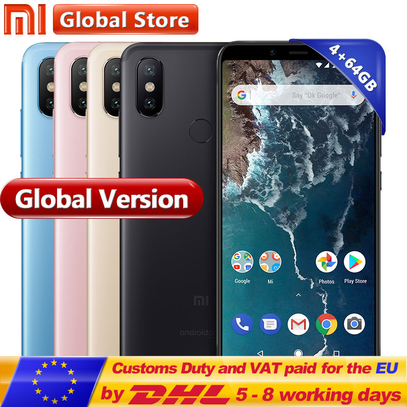 Global Version Originale Xiao mi mi A2 64 gb ROM Smartphone 4 gb RAM Double 20.0MP Snapdragon 660 Octa Core 3010 mah 5.99 Plein Écran