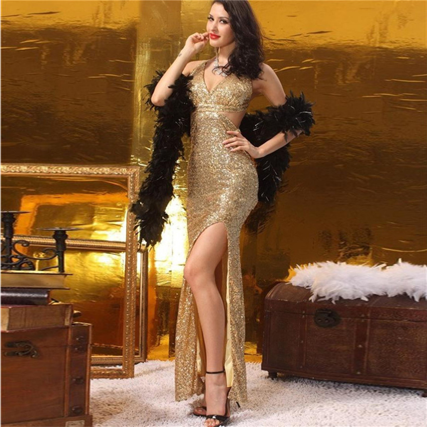 Free shipping Golden Sequined Prom Dresses 2017 Front Slit Indian Style Prom...