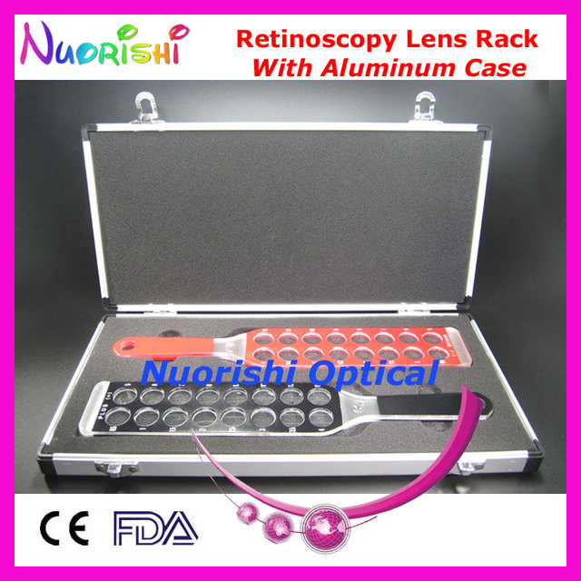 E03-7 Ophthalmic Optometry Optical Retinoscopy Lens Rack Flipper Board Lens Packed by Aluminum Case Free Shipping