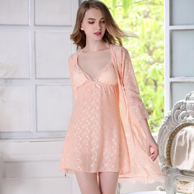 Ladies Summer Bathrobe For Women Solid Bath Robe Dressing Gown Solid ...