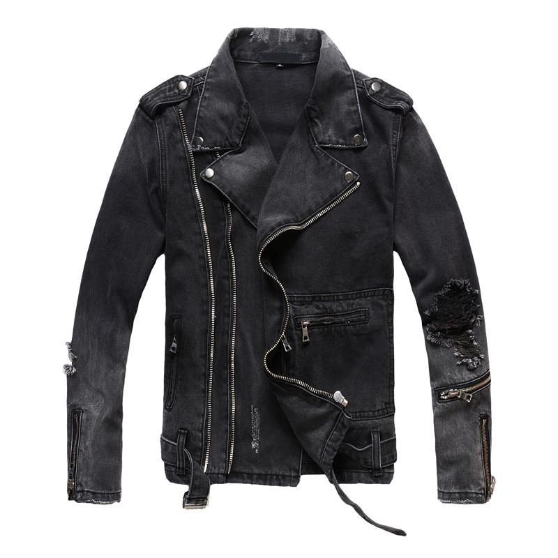 Idopy New Fashion Hi Street Mens Ripped Denim Jackets With Multi Zippers Streetwear Distressed Motorcycle Biker Jeans Jacket