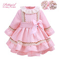 Pettigirl Pink Girl Dress Wtih Lace Hairband Big Bow Autumn Dresses For Girls Causal Bontique Kids Wear G-DMGD908-903