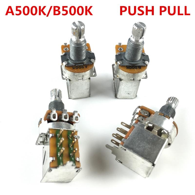 Interruptor de empuje y ajuste de Audio Alpha 500K, olla de neumático para guitarra eléctrica/bajo, potenciómetro de volumen y controles de tono A500K/B500K, 1 ud.