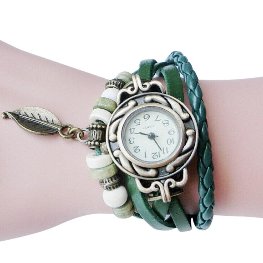 Watch women bracelet Fashion New Casual  Women Children Retro LeatherWinding Bracelet Leaf Pendant Watch