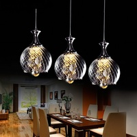 1 3 Heads Lamps Restaurant Crystal Pendant Lights Single LED Restaurant Small Glass Pendant Lamps