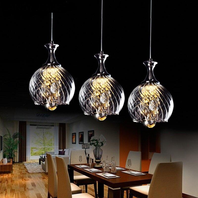 LED restaurant small glass Pendant lamps 1/3 heads lamps restaurant crystal Pendant Lights single