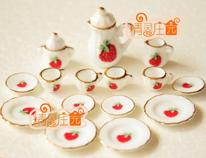 G05-X4326 children baby gift Toy 1:12 Dollhouse mini Furniture Miniature rement ceramics tea set 15pcs/set Strawberry
