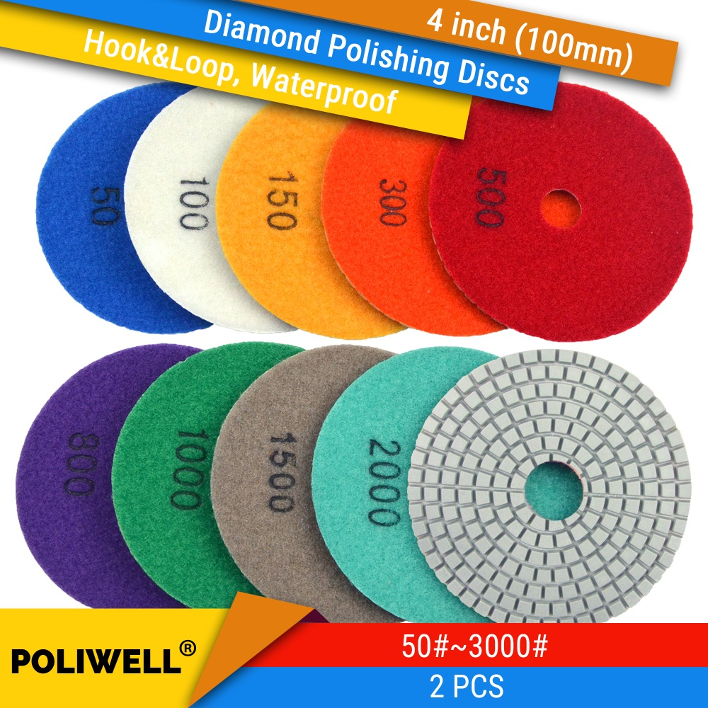 2PCS 4 Inch(100mm) Diamond Hook&Loop Wet/Dry Abrasive Discs For Granite Stone Concrete Marble Surface Polishing Conditioning