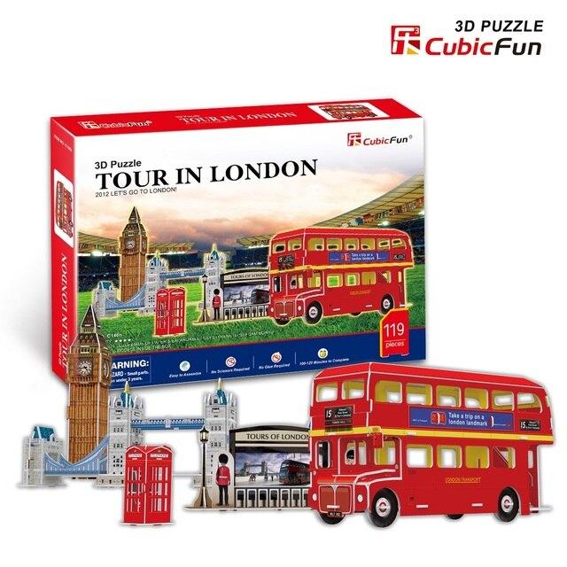 Candice guo DIY toy 3D paper puzzle assemble building model game C146h olympicl landscape tour in London bus baby gift 5pcs/set