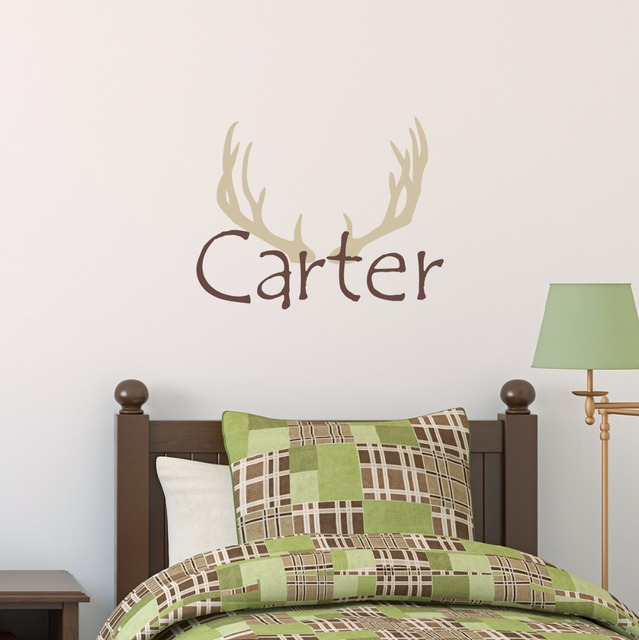 Elk antlers personalized name wall decal boys hunting bedroom applicable stickers kids custom name vinyl hunter
