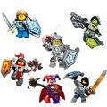 6 unids/lote nexo caballeros royal soldado lanza corteza smasher cifras caballero ciclo de bloques de creación de juguetes compatibles con lego