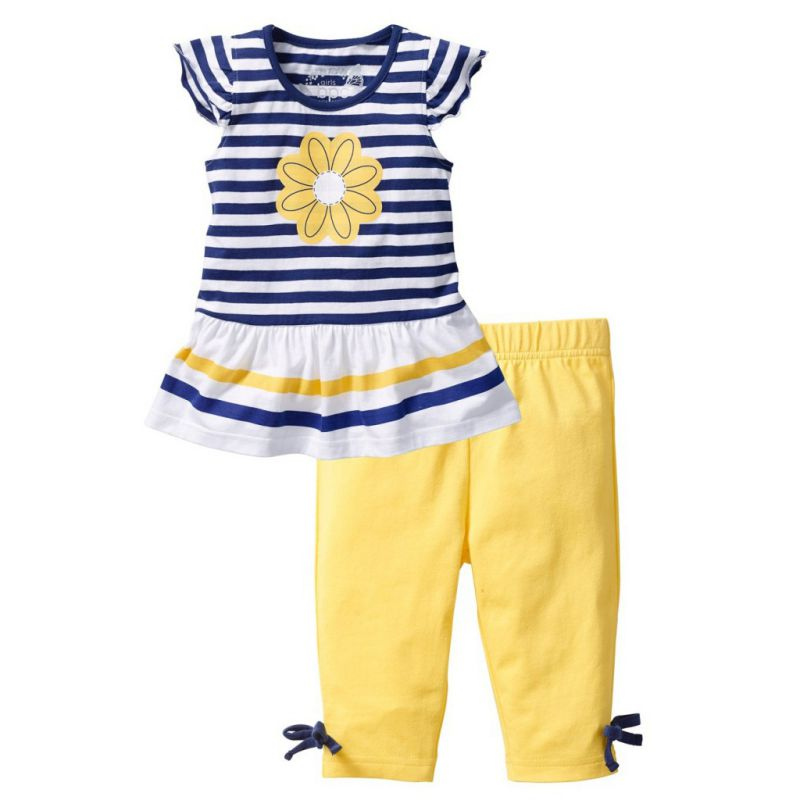 Baby Girls Cotton Clothes Sets Summer Mutli-Colors Striped T-shirt Tops+ Pants Kids Clothing Suit 1-7 Years