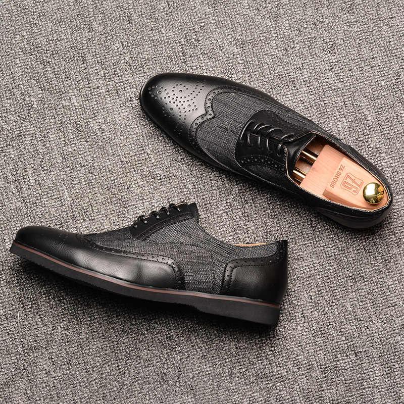 534595f2 ... 2019 мужская повседневная обувь Z6 бренд ручной работы дышащие удобные  джинсы из искусственной кожи Броги мужские ...