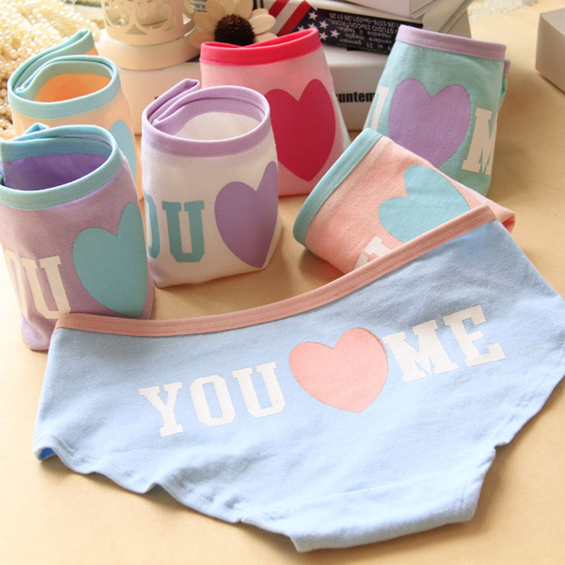 2015 Hot Sale Brand Heart Love Letter Pink Underwear Women Sexy Panties Briefs 100 Cotton Comfortable