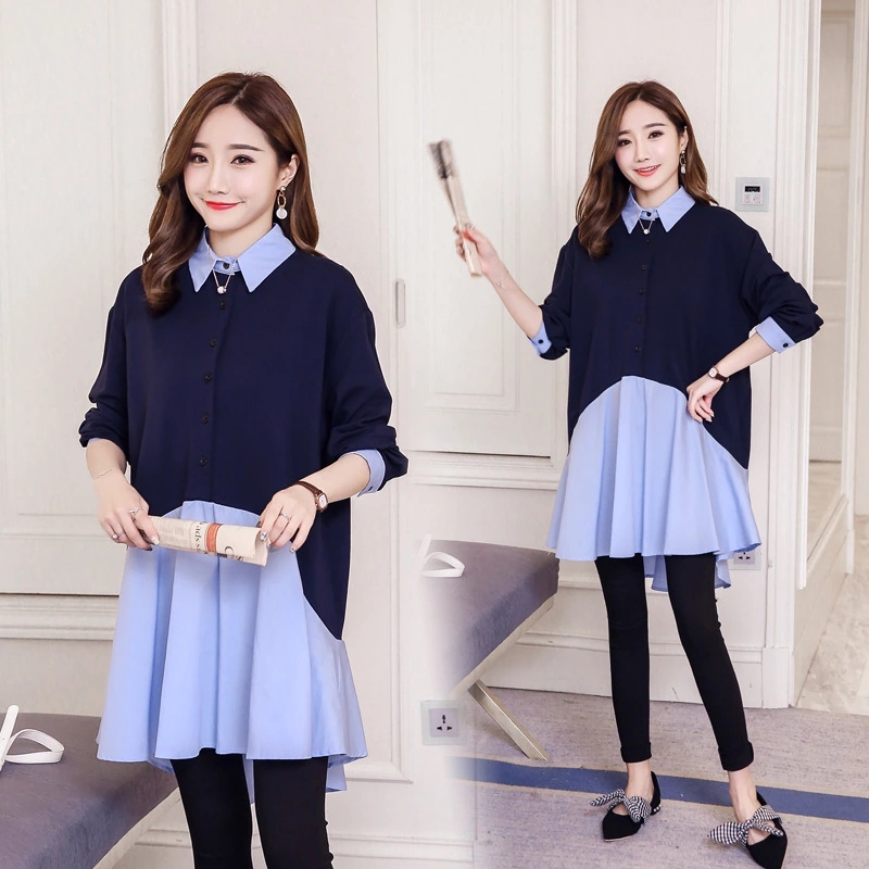 97b245888e37c Pengpious 2019 Korean style plus size pregnant women dress long sleeve turn  down collar autumn maternity dress patchwork shirts-in Dresses from Mother  ...