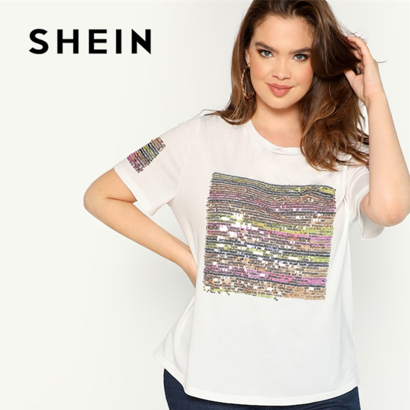 SHEIN Plus Contrast Sequin Striped Short Sleeve Round Neck Tee 2018 Stretchy Autumn Highstreet Weekend Casual T-shirt