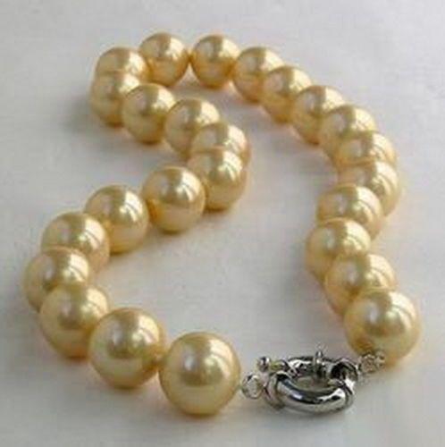 Venda Hot new Style >>>>> Amarelo Ouro South Sea Shell Pérola Colar Fecho de Prata