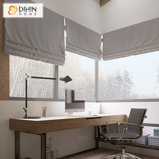 Cotton Linen Fabric Window Curtains For Living Room Roman Blinds