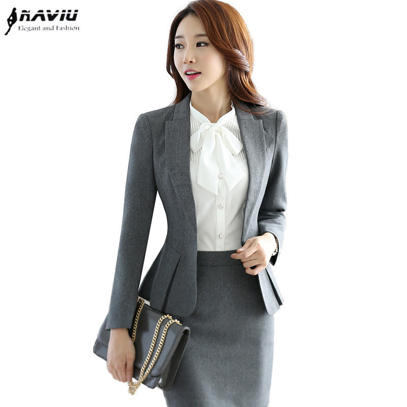 High quality formal suit women slim work wear office ladies long sleeve blazer skirt suits costumes
