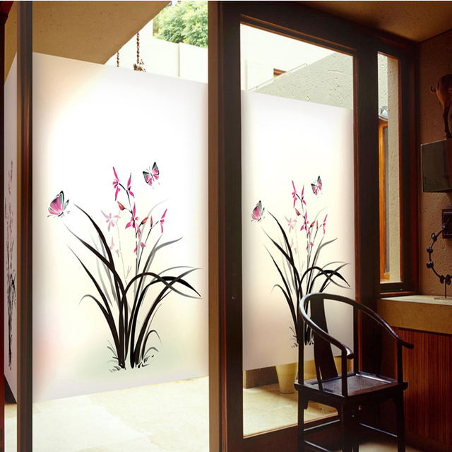 Chinese window glass stickers matte glass film sliding door balcony transparent translucent bathroom decorative foil - & Chinese window glass stickers matte glass film sliding door ...