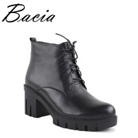 Bacis Boots High Quality Warm Winter Shoes Luxury Vintage Genuien Leather Boots Women Short Plush Cowhide