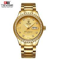 TEVISE Quartz Luxury Gold Diamond Men Watches Top Brand Luminous Steel Bracelet Watchband Date Male Clock Business Wristwatches