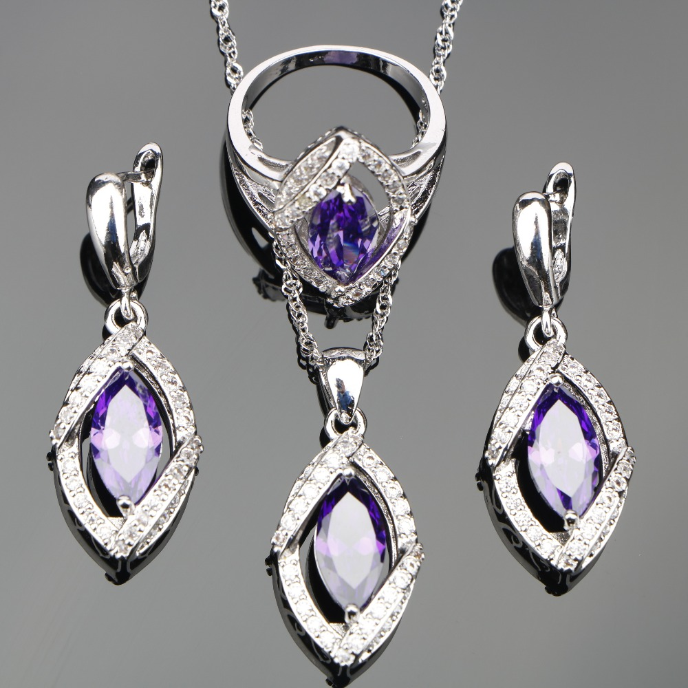 Bridal Silver 925 Costume Jewelry Sets Purple Zircon Women Rings Pendant&Necklace Earrings With Stones Set Jewelery Gift Box