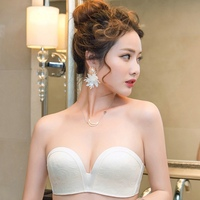 Invisible Strapless Sexy Push Up Lace Bra Embroidery Underwear Women Antiskid Cup Wedding Dress Body Shaper