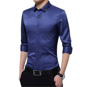 Shirt Embroidered Long-Sleeve Business-Leisure Slimming-Lapel Male Fashion New-Products
