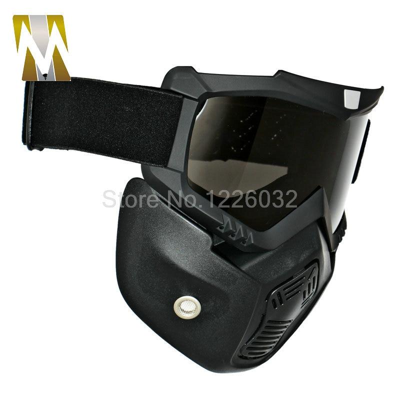 f8f532025833a Máscara motocicleta Ski Snowboard Motocross Óculos Óculos Máscara Viseira Destacável  Oculos Gafas para Abrir Rosto Meio Capacete Da Motocicleta em Óculos de ...