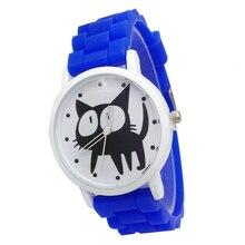 Mulheres de Quartzo Analógico Mulheres Relógio de Forma Relógio de Silicone Azul gatinho Dos Desenhos Animados