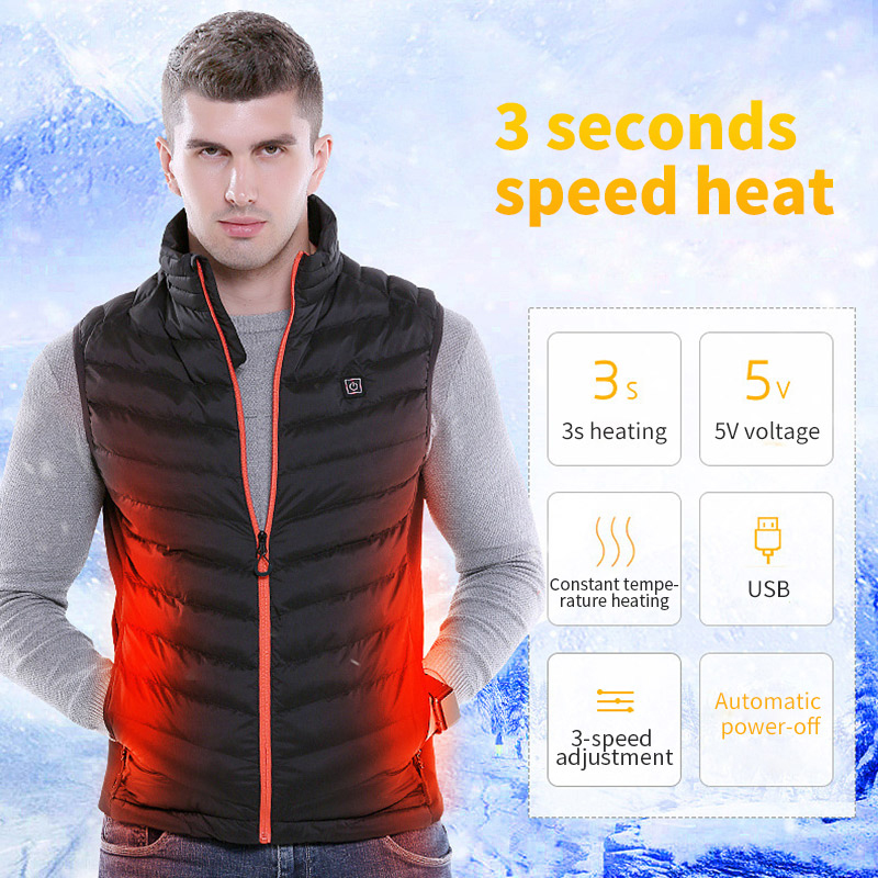 USB Infrared Heating Cotton Vest Jacket Men Winter