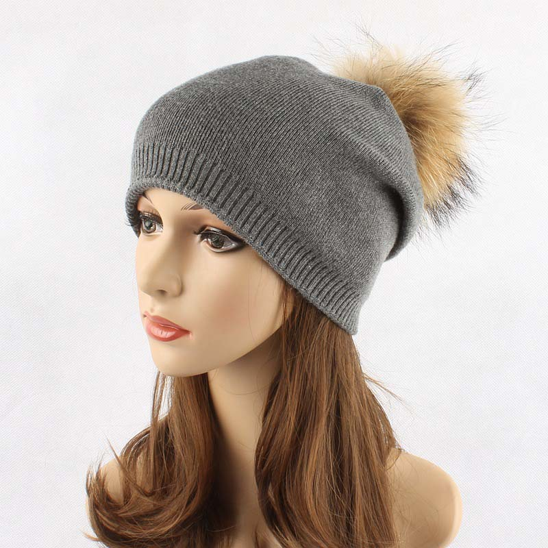 HIgh Quality Knitted Raccoon Pompom Hat Skullies For Women Lady Autumn Winter Outdoor Warm Ear Cap Beanies skullies