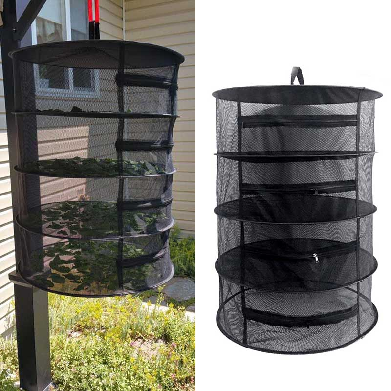 4 Layers Black Wire Mesh Hanging Net Drying Rack Clothes Basket Laundry Storage Bag Herb Bud Drying Basket