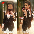 V-neck Sheath Black and White Lace Short Homecoming Dresses 2017 New Arrival Prom Dresses with Sleeve Twinkling Mini Party Dress