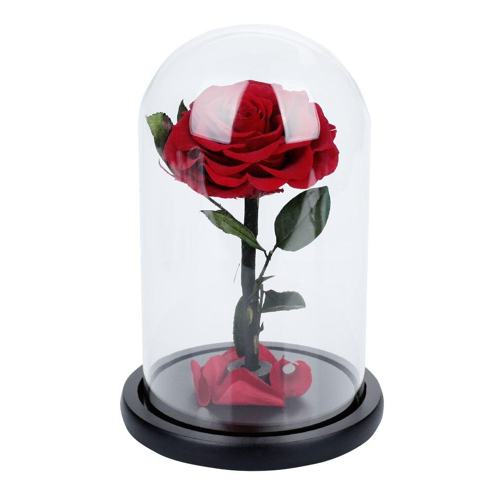 Розовое стекло покрытие праздничное свадебное оформление immity стекло сохраненные свежими цветами Романтический День Святого Валентина вечный цветок - Цвет: Red